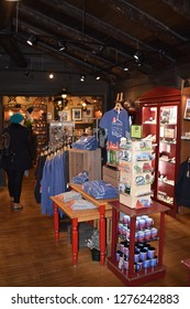 Grand Canyon, AZ., U.S.A. Dec. 31/Jan. 1, 2019. El Tovar's outstanding gift shop filled with warm clothing, and mementos of the Grand Canyon and the El Tovar Hotel.