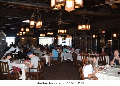 Grand Canyon, AZ., U.S.A. June 6, 2018. El Tovar Hotel-National Historic Landmark in 1987-is perched on the South Rim of the Grand Canyon.  Opened in 1905, El Tovar dining by Master Chefs