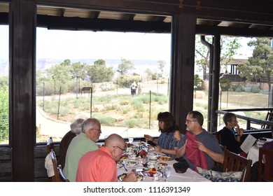 Grand Canyon, AZ., U.S.A. June 6, 2018. El Tovar Hotel-National Historic Landmark in 1987-is perched on the South Rim of the Grand Canyon.  Opened in 1905, El Tovar offers Master Chef prepared meals