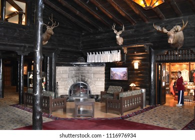 Grand Canyon, AZ., U.S.A. June 6, 2018. El Tovar Hotel-National Historic Landmark in 1987-is perched on the South Rim of the Grand Canyon.  El Tovar's cozy lobby is uniquely rustic a-la hunting lodge