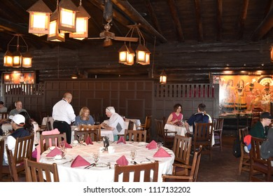 Grand Canyon, AZ., U.S.A. June 6, 2018. El Tovar Hotel-National Historic Landmark in 1987-is perched on the South Rim of the Grand Canyon.  Opened in 1905, El Tovar dining offers Master Chef meals