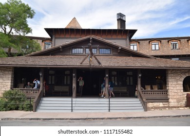 Grand Canyon, AZ., U.S.A. June 6, 2018. El Tovar Hotel-National Historic Landmark in 1987-is perched on the South Rim of the Grand Canyon.  Opened in 1905, this wooden hotel is the grand lady