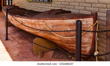 Grand Canyon, AZ/USA - Oct. 30, 2013: Exact replica of the boat used by John Wesley Powell in his historic voyage through the Grand Canyon.