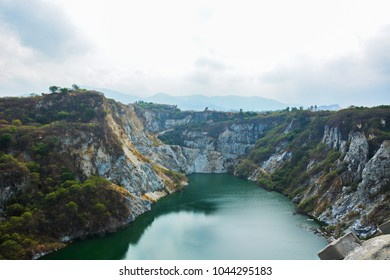 Grand canyon Chonburi ,viewpoint of stone quarry ,old Stone Mine