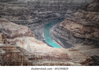 Grand canyon with Colorado River from high view