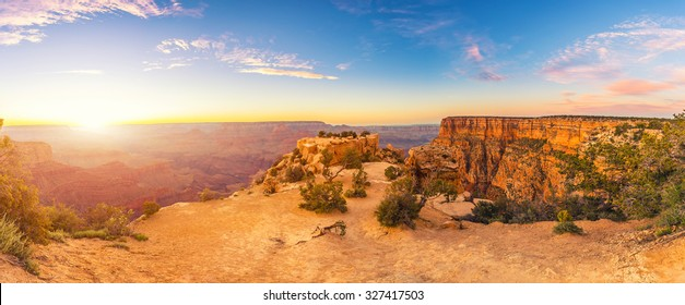 Grand Canyon extreme panorama at sunset