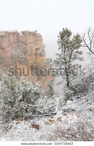 Grand Canyon Foggy Weather Landscape Arizona Stock Photo