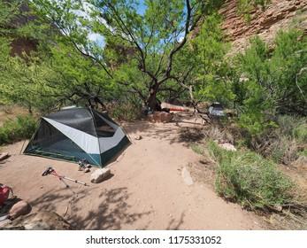 Grand Canyon National Park, Arizona - 05/19/2018: Tents at the Monument Campsite in Grand canyon National Park.