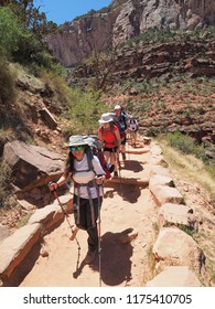 Grand Canyon National Park, Arizona - 05/18/2018: Backpackers descend the Bright Angel Trail toward Indian Garden in Grand Canyon National Park.