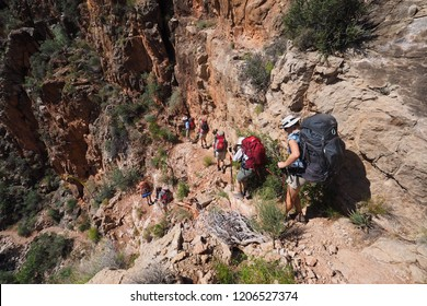 Grand Canyon National Park, Arizona - 05/24/2016: Backpackers descend a challenging portion of the Grandview Trail between Horseshoe Mesa and Page Spring in Grand Canyon National Park, Arizona.