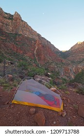 Grand Canyon National Park, Arizona - 05/27/2016: Backpacking tent on the strenuous New Hance Trail in Grand Canyon National Park.