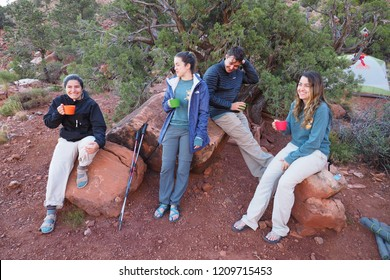 Grand Canyon National Park, Arizona - 05/27/2016: Backpackers enjoy breakfast on the strenuous New Hance Trail in Grand Canyon National Park.