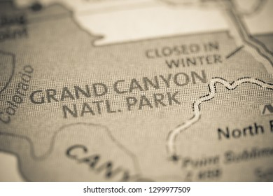 Grand Canyon National Park. Arizona. USA on a map