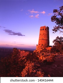 Grand Canyon National Park, Arizona, One of the Wonders of the World/Grand Canyon/The watchtower at desert view, the east end of GCNP is best photographed in the evening at sunset.