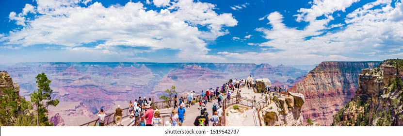 Grand Canyon National Park Mather Point, northwestern Arizona Aug 2019: 26Mpx Panorama of Steep-sided canyon carved by Colorado River in Arizona UNESCO WHS in 1979