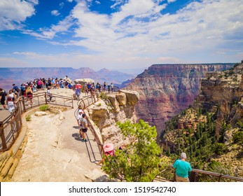Grand Canyon National Park Mather Point, northwestern Arizona Aug 2019: Steep-sided canyon carved by Colorado River in Arizona UNESCO WHS in 1979