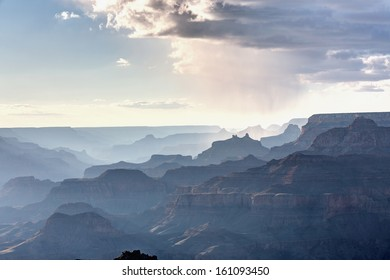 Grand Canyon National Park with rainy cloud from South Rim