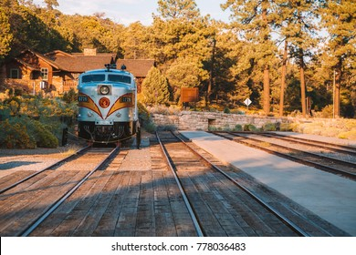Grand canyon railway train. A stop at the Grand Canyon village. USA. April 10, 2017