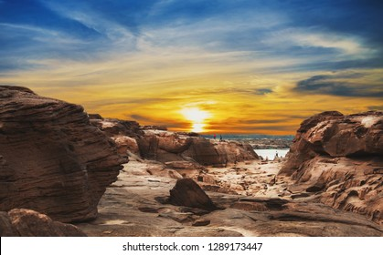 Grand canyon of Thailand with sunlight / stone mountain at Sam Phan Bok