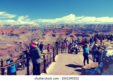 GRAND CANYON, USA - APRIL 3, 2014: People visit Grand Canyon National Park in Arizona. 4.56 million tourists visited Grand Canyon in 2013.