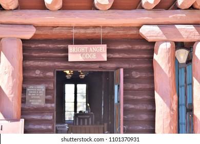 Grand Canyon Village Arizona 5/18/18 Wooden log exterior of the Bright Angel Lodge