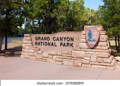 Grand Canyon Village, Arizona, USA 08 30 2009: South entrance board of Grand Canyon National Park