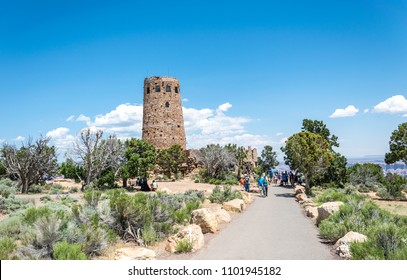 Grand Canyon Village, Arizona / USA - June 20 2017: old watch tower on the south rim of the Grand Canyon, Arizona, USA. Tourist popular observation deck Desert View in Grand Canyon National Park