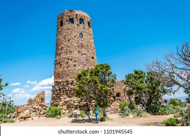 Grand Canyon Village, Arizona / USA - June 20 2017: old watchtower on the south rim of the Grand Canyon, Arizona, USA. Tourist popular observation deck Desert View in Grand Canyon National Park