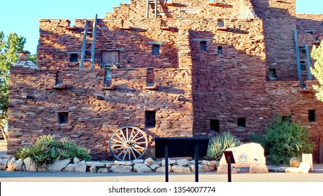 Grand Canyon Village, Arizona, USA - June 26, 2013: Hopi House is located in the Grand Canyon Village in the Grand Canyon National Park. The building is modeled after a pueblo dwelling.