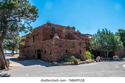 Grand Canyon Village, Arizona / USA - June 20 2017: Hopi House, Grand Canyon Village, Arizona. The building  in the style of ancient buildings of the Indian tribe Hopi. Landmark of Grand Canyon