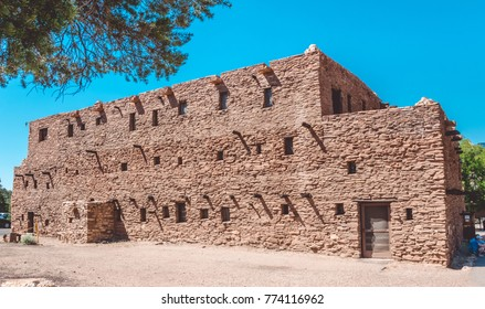 Grand Canyon Village, Arizona / USA - June 20 2017: Hopi House, Grand Canyon Village, Arizona. Building  in the style of ancient buildings of the Indian tribe Hopi. Famous landmark
