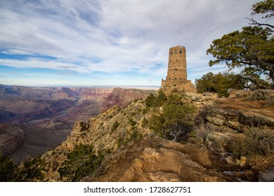 Grand Canyon Watchtower. View from the rim of the Grand Canyon National Park at the Desert View Watchtower