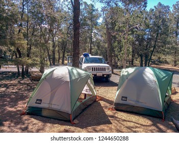 Grand Canyon,Arizona/ United States - May 3, 2015: Campground with two tents and a car