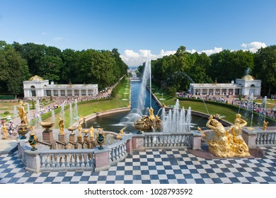 Grand Cascade fountains at Peterhof Palace, St Petersburg, Russia, July 2011