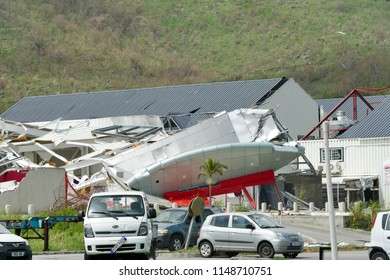 Grand Case Saint Martin- November , 2017: Hurricane Irma destroyed cars and businesses on the island of saint martin.