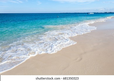 Grand Cayman island, Seven Mile Beach Resort. Clear blue water in the ocean