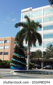GRAND CAYMAN, CAYMAN ISLANDS - CIRCA DECEMBER 2017: Christmas tree in the main square