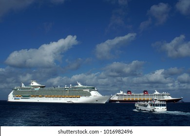 GRAND CAYMAN, CAYMAN ISLANDS - CIRCA DECEMBER 2017: Cruise ships moored in the harbor