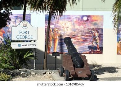 GRAND CAYMAN, CAYMAN ISLANDS - CIRCA DECEMBER 2017: Cannon on display near the cruise ship terminal