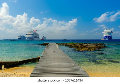 Grand Cayman, Cayman Islands, Dec 2018, cruise ships moored  on the Caribbean Sea by George Town