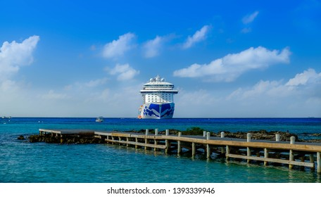 Grand Cayman, Cayman Islands, Dec 2018, the Regal Princess cruise ship moored by George Town coast
