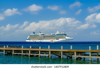 Grand Cayman, Cayman Islands, Dec 2018, the Celebrity Equinox cruise ship moored by George Town coast