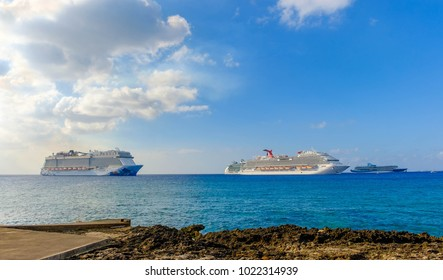 Grand Cayman, Cayman Islands, Feb 2018, cruise ships on the Caribbean Sea moored by George Town port