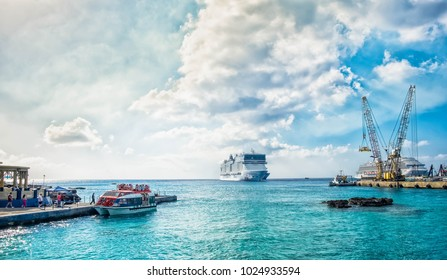 Grand Cayman, Cayman Islands, Feb 2018, tourists in the Caribbean embarking on a marine shuttle for their cruise ship, moored at George Town port