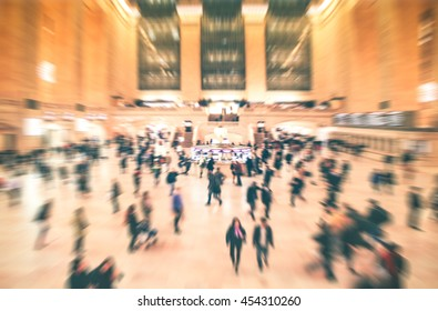 Grand Central , New York City at Main hall with Motion blurred background of a lot of people, New Yorker walking in rush hour morning. Background for your project design creative concept.