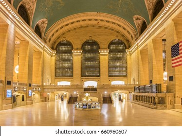 Grand Central Terminal empty at night. It is a commuter, rapid transit, and intercity railroad terminal at 42nd Street and Park Avenue in Midtown Manhattan in New York City, United States