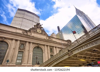 Grand Central Terminal with surrounding skyscrapers and bridge, New York