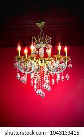 Grand chandelier in restaurant and hotel.