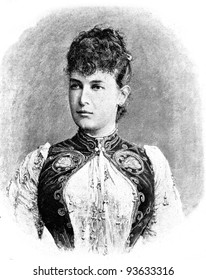 """Grand Duchess Maria Pavlovna. Engraving by Shyubler. Published in magazine """"Niva"""", publishing house A.F. Marx, St. Petersburg, Russia, 1893"""