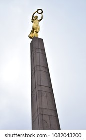 Grand Duchy of Luxembourg - October 26, 2015: The Monument of Remembrance, usually known by the nickname of the Gëlle Fra, or Golden Lady, is a war memorial in Luxembourg City. The sculptor Claus Cito